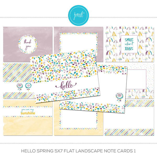 Hello Spring 5x7 Flat Landscape Note Cards 1 Digital Art - Digital Scrapbooking Kits