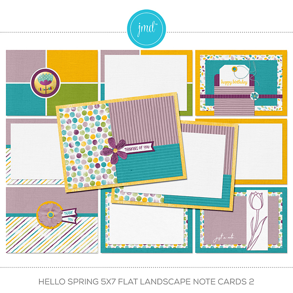 Hello Spring 5x7 Flat Landscape Note Cards 2 Digital Art - Digital Scrapbooking Kits