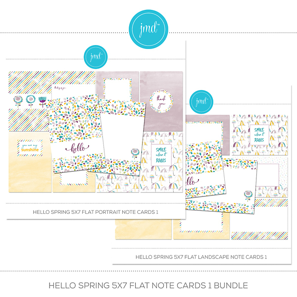Hello Spring 5x7 Flat Note Cards 1 Bundle Digital Art - Digital Scrapbooking Kits