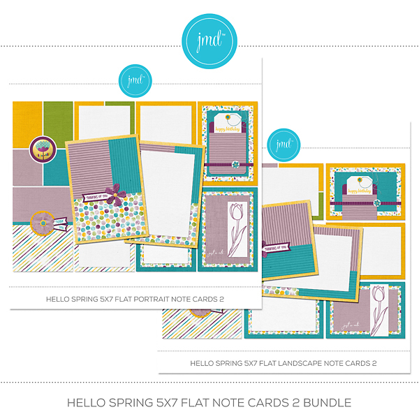 Hello Spring 5x7 Flat Note Cards 2 Bundle Digital Art - Digital Scrapbooking Kits