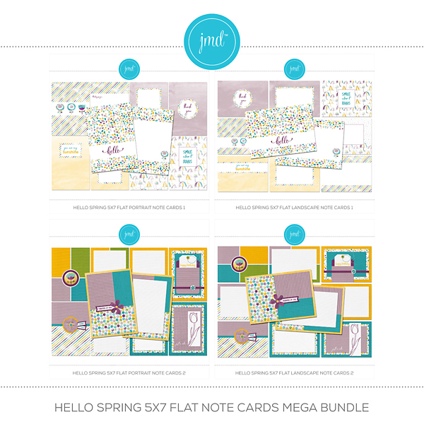 Hello Spring 5x7 Flat Note Cards Mega Bundle Digital Art - Digital Scrapbooking Kits