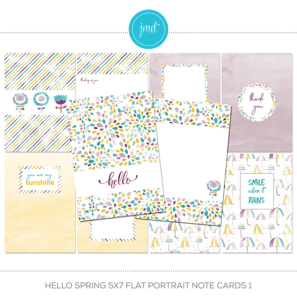 Hello Spring 5x7 Flat Portrait Note Cards 1 Digital Art - Digital Scrapbooking Kits