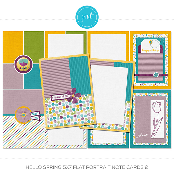 Hello Spring 5x7 Flat Portrait Note Cards 2 Digital Art - Digital Scrapbooking Kits