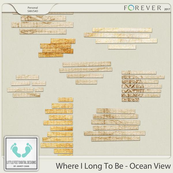 Where I Long To Be - Ocean View Journal Snippets Digital Art - Digital Scrapbooking Kits