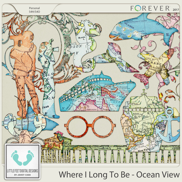 Where I Long To Be - Ocean View Map Silhouettes
