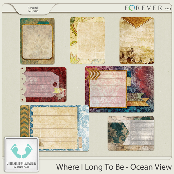 Where I Long To Be - Ocean View Vintage Journal Cards Digital Art - Digital Scrapbooking Kits
