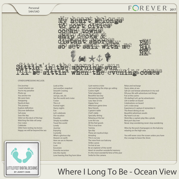 Where I Long To Be - Ocean View Word Art Expressions