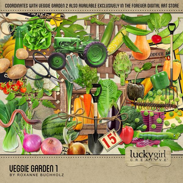 Veggie Garden 1 Digital Art - Digital Scrapbooking Kits
