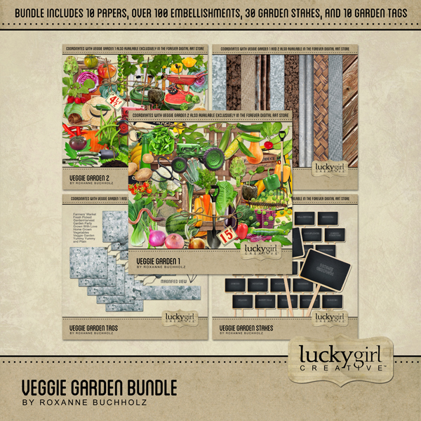 Veggie Garden Bundle Digital Art - Digital Scrapbooking Kits