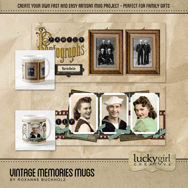 Vintage Memories Mugs Digital Art - Digital Scrapbooking Kits