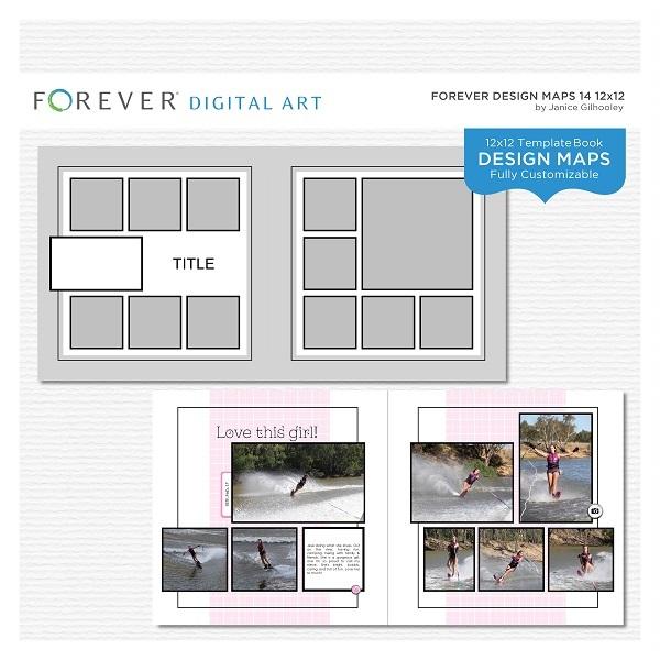 Forever Design Maps 14 12x12 Digital Art - Digital Scrapbooking Kits