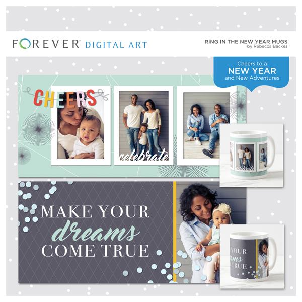 Ring In The New Year Mugs Digital Art - Digital Scrapbooking Kits