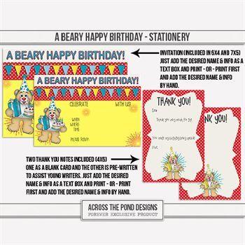 A Beary Happy Birthday - Stationery