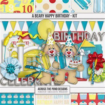 A Beary Happy Birthday - Page Kit Digital Art - Digital Scrapbooking Kits
