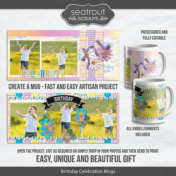 Birthday Celebration Mugs - Predesigned And Editable Digital Art - Digital Scrapbooking Kits