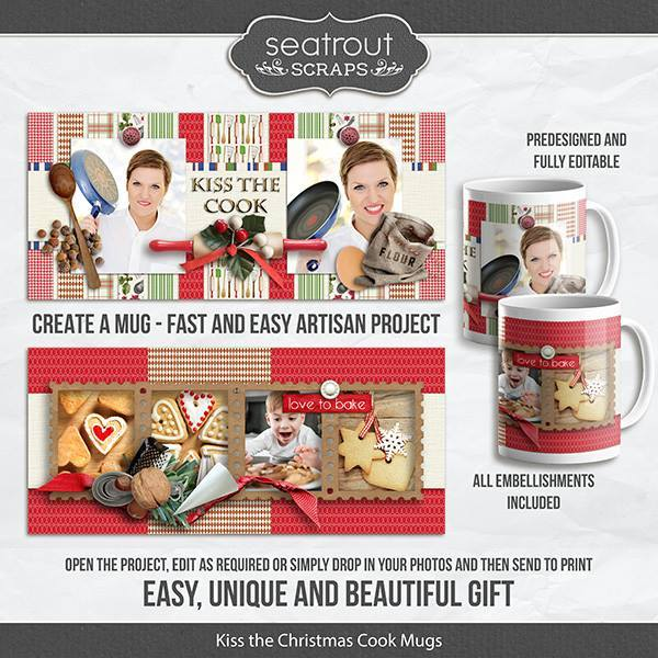 Kiss The Christmas Cook Mugs - Predesigned And Editable Digital Art - Digital Scrapbooking Kits