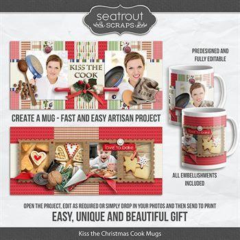 Kiss The Christmas Cook Mugs - Predesigned And Editable