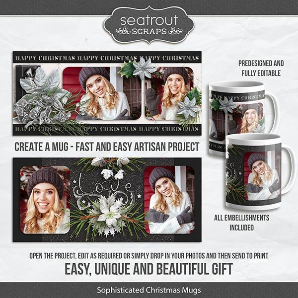 Sophistcated Christmas Mugs - Predesigned And Editable Digital Art - Digital Scrapbooking Kits
