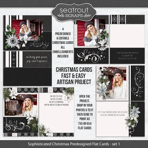 Sophisticated Christmas - Set 1 Predesigned 5x7 Flat Cards Digital Art - Digital Scrapbooking Kits