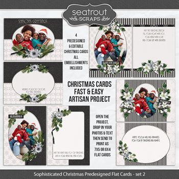 Sophisticated Christmas Set 2 Predesigned Editable 5x7 Flat Cards