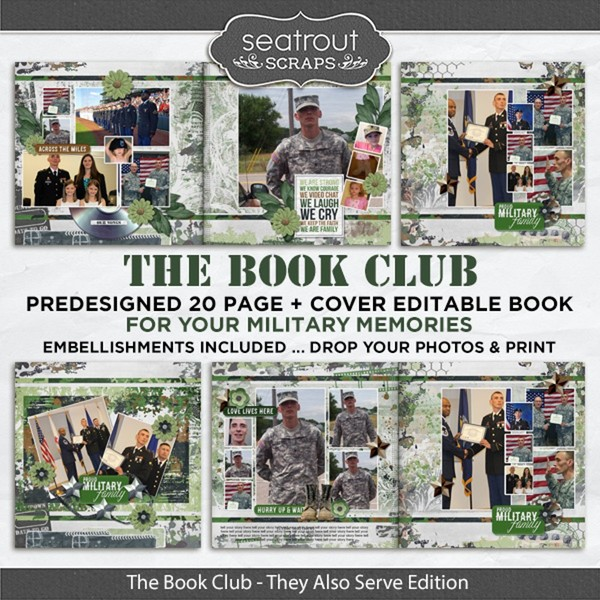 The Book Club - They Also Serve Predesigned Editable Book Digital Art - Digital Scrapbooking Kits