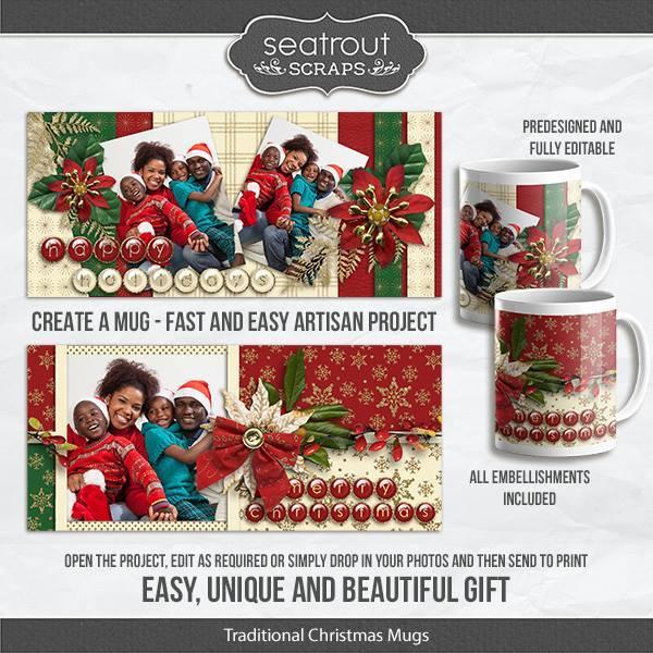 Traditional Christmas Mugs - Predesigned And Editable Digital Art - Digital Scrapbooking Kits
