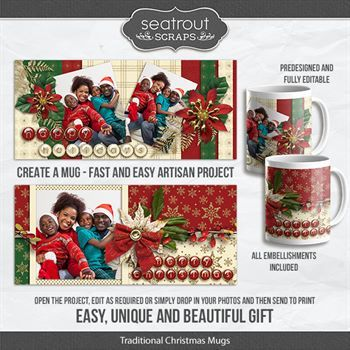 Traditional Christmas Mugs - Predesigned And Editable