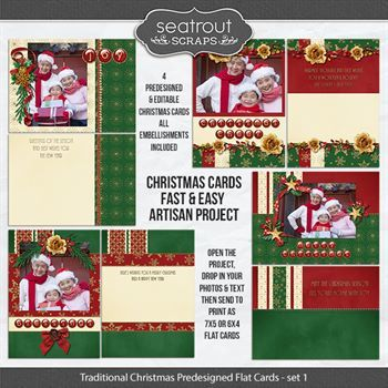 Traditional Christmas Set 1 Predesigned Editable 5x7 Flat Cards