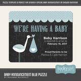Baby Announcement Blue Puzzle