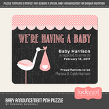 Baby Announcement Pink Puzzle