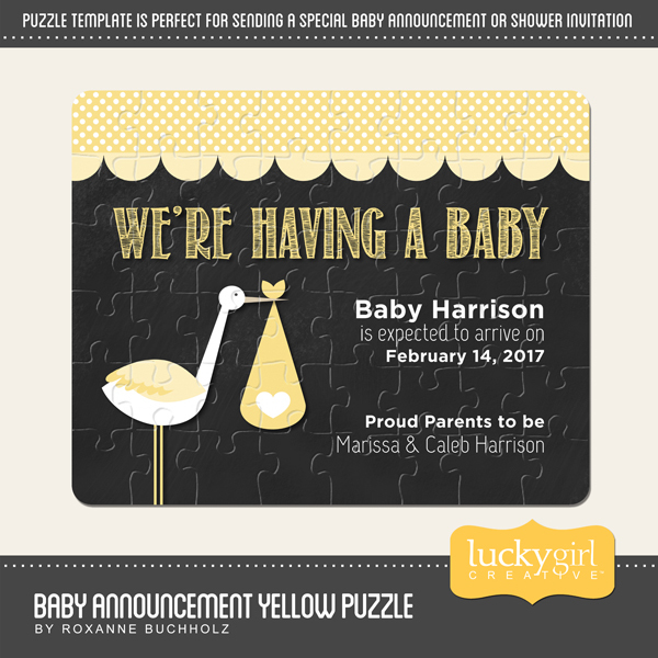 Baby announcement yellow puzzle digital art maxwellsz
