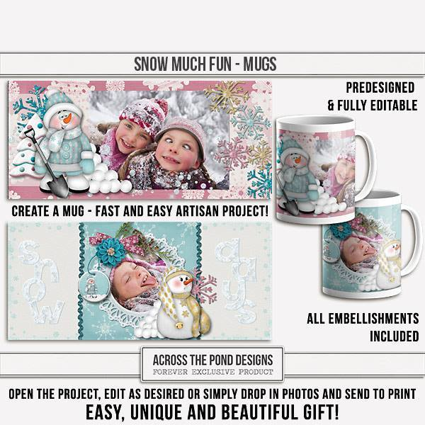Snow Much Fun Mugs - Predesigned And Editable