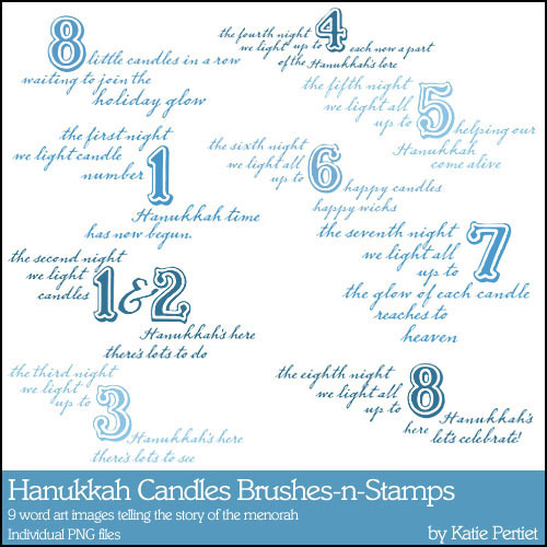 Hanukkah Candles Brushes And Stamps Digital Art - Digital Scrapbooking Kits