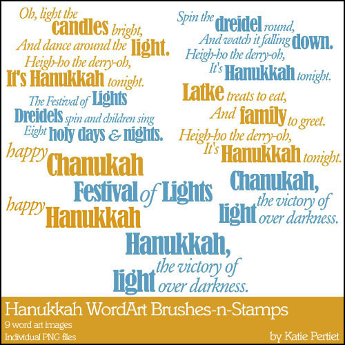 Hanukkah Word Art Brushes And Stamps Digital Art - Digital Scrapbooking Kits