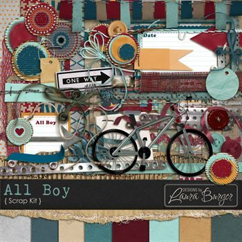 All Boy Scrap Kit Digital Art - Digital Scrapbooking Kits