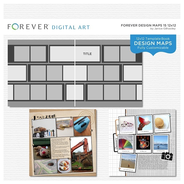 Forever Design Maps 15 12x12 Digital Art - Digital Scrapbooking Kits