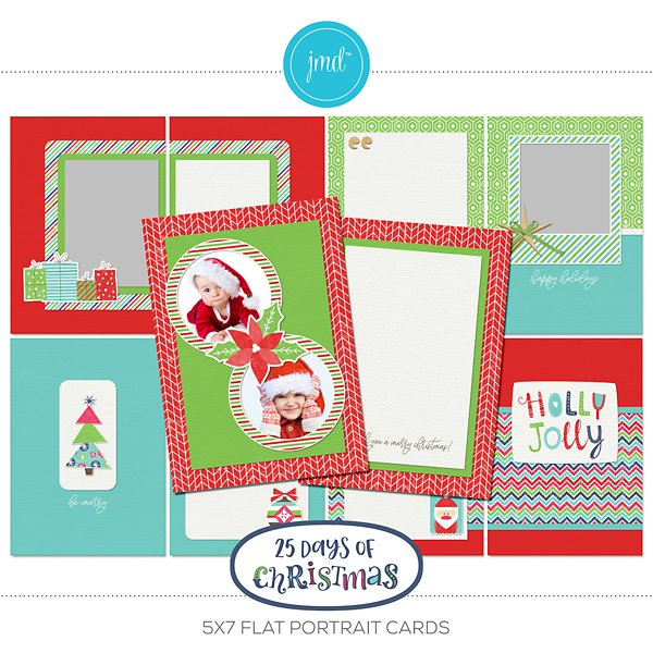 25 Days Of Christmas 5x7 Flat Portrait Cards Digital Art - Digital Scrapbooking Kits