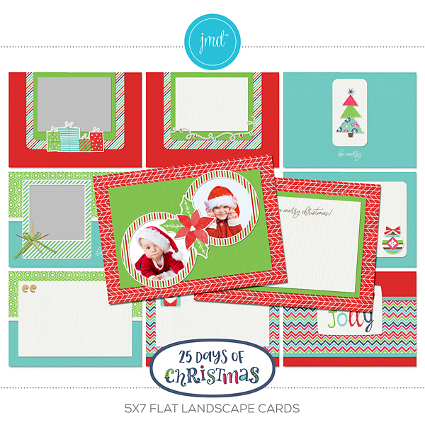 25 Days Of Christmas 5x7 Flat Landscape Cards Digital Art - Digital Scrapbooking Kits