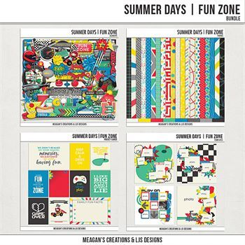 Summer Days - Fun Zone - Bundle Digital Art - Digital Scrapbooking Kits