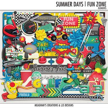 Summer Days - Fun Zone - Elements Digital Art - Digital Scrapbooking Kits