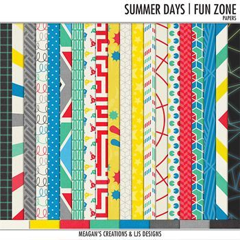 Summer Days - Fun Zone - Papers Digital Art - Digital Scrapbooking Kits