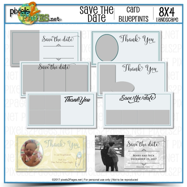 8x4 Card Blueprints - Save The Date