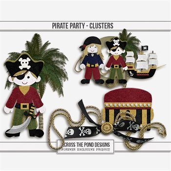 Pirate Party - Clusters Digital Art - Digital Scrapbooking Kits