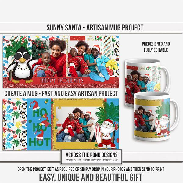 Sunny Santa Mugs - Predesigned And Editable