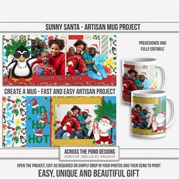 Sunny Santa Mugs - Predesigned And Editable