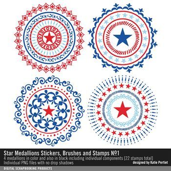 Star Medallions Brushes And Stamps No. 01 Digital Art - Digital Scrapbooking Kits