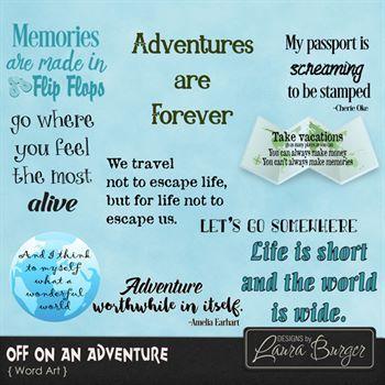 Off On An Adventure Word Art