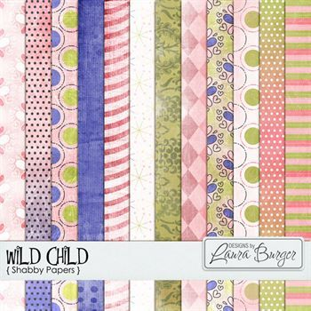 Wild Child Shabby Papers Digital Art - Digital Scrapbooking Kits