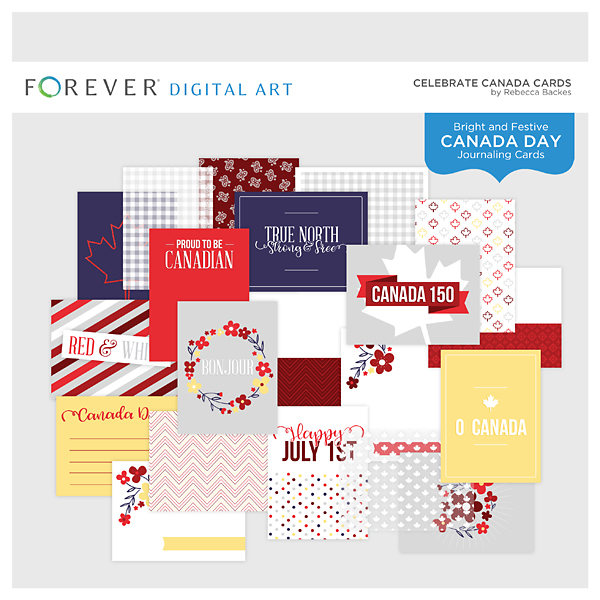 Celebrate Canada Cards Digital Art - Digital Scrapbooking Kits