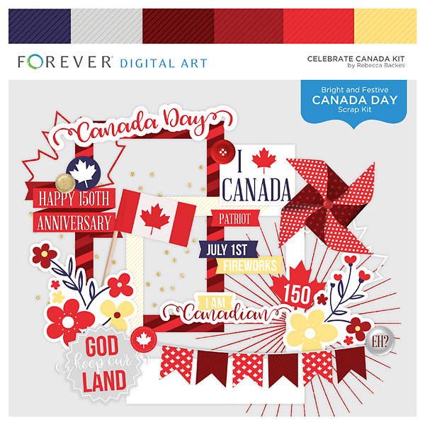 Celebrate Canada Kit Digital Art - Digital Scrapbooking Kits